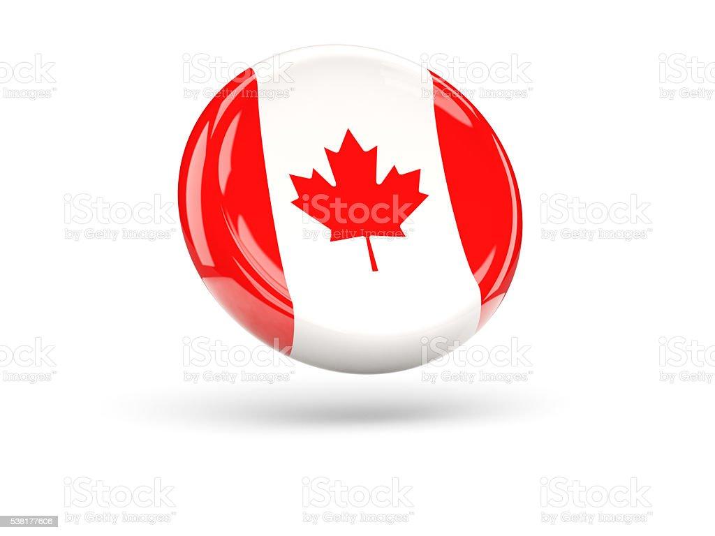 Flag of canada. Round icon stock photo