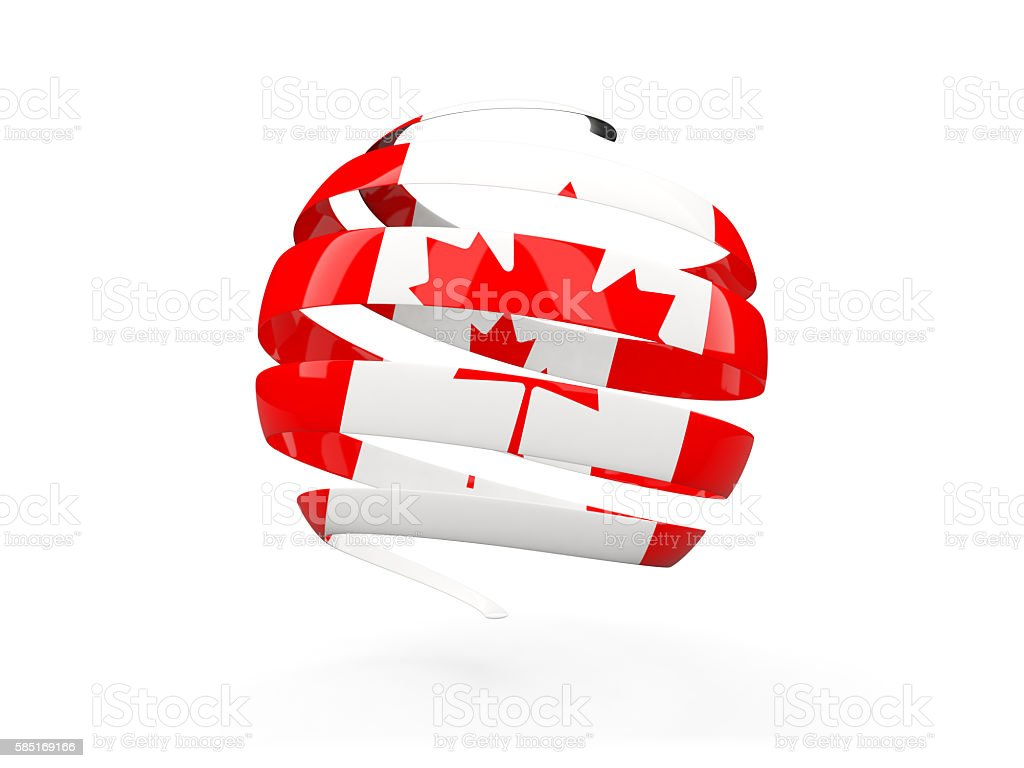 Flag of canada, round icon stock photo
