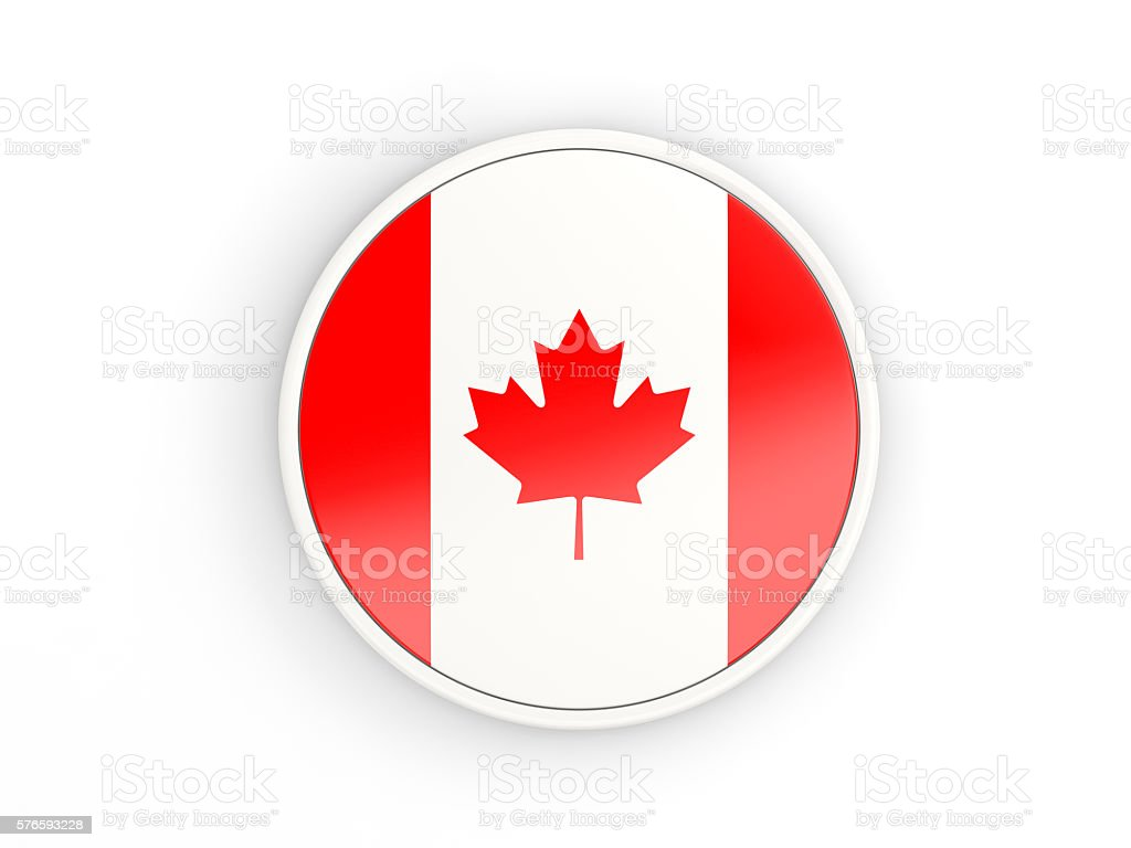 Flag of canada. Round icon with frame stock photo