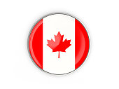 Flag of canada, round icon with metal frame