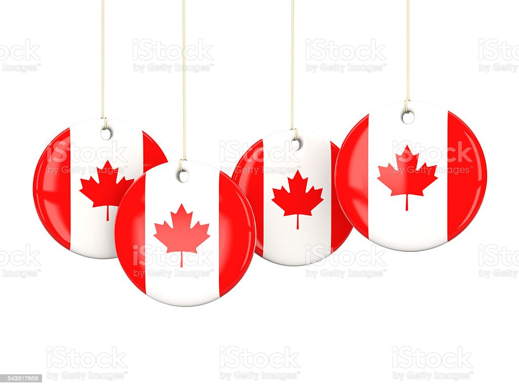 Flag of canada, round labels stock photo