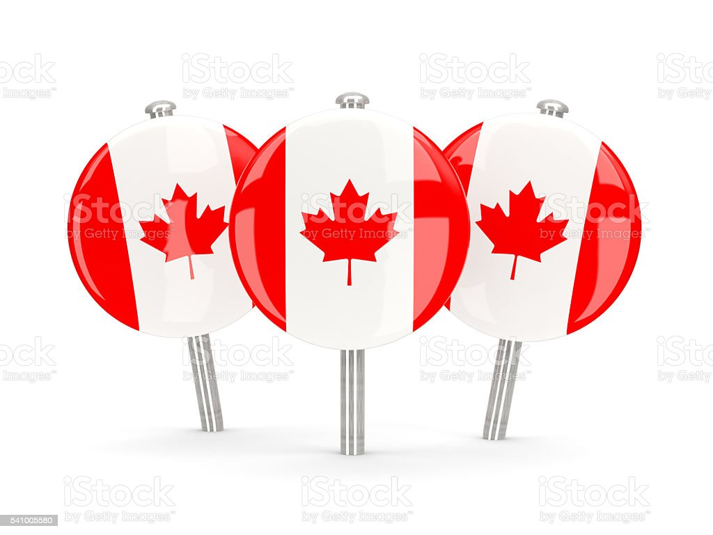 Flag of canada, round pins stock photo
