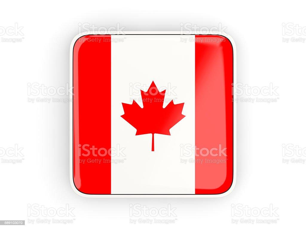 Flag of canada, square icon stock photo