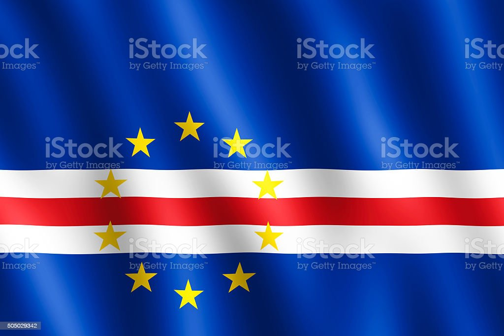 Flag of Cape Verde waving in the wind stock photo