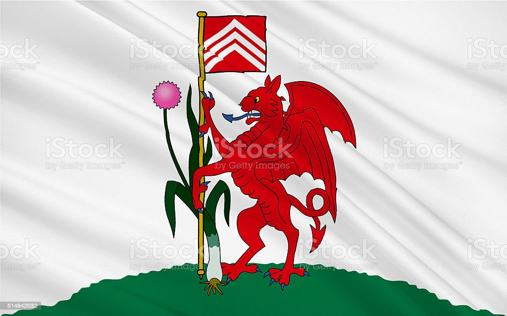 Flag of Cardiff is capital and largest city in Wales stock photo