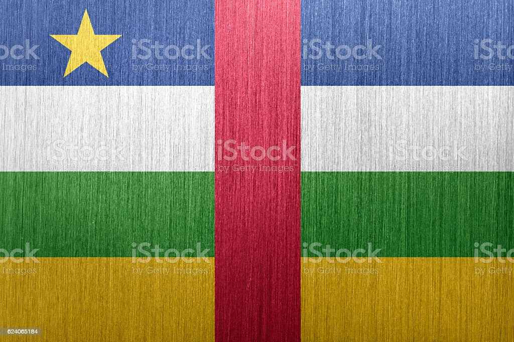 Flag of Central African Republic on a brushed metal background stock photo