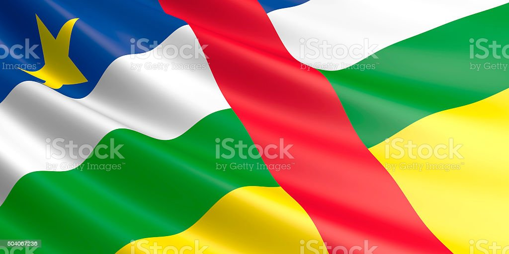 Flag of Central African Republic waving in the wind. royalty-free stock photo
