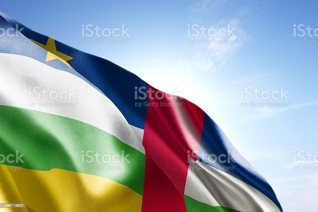 Flag of Central African Republic waving in the wind stock photo