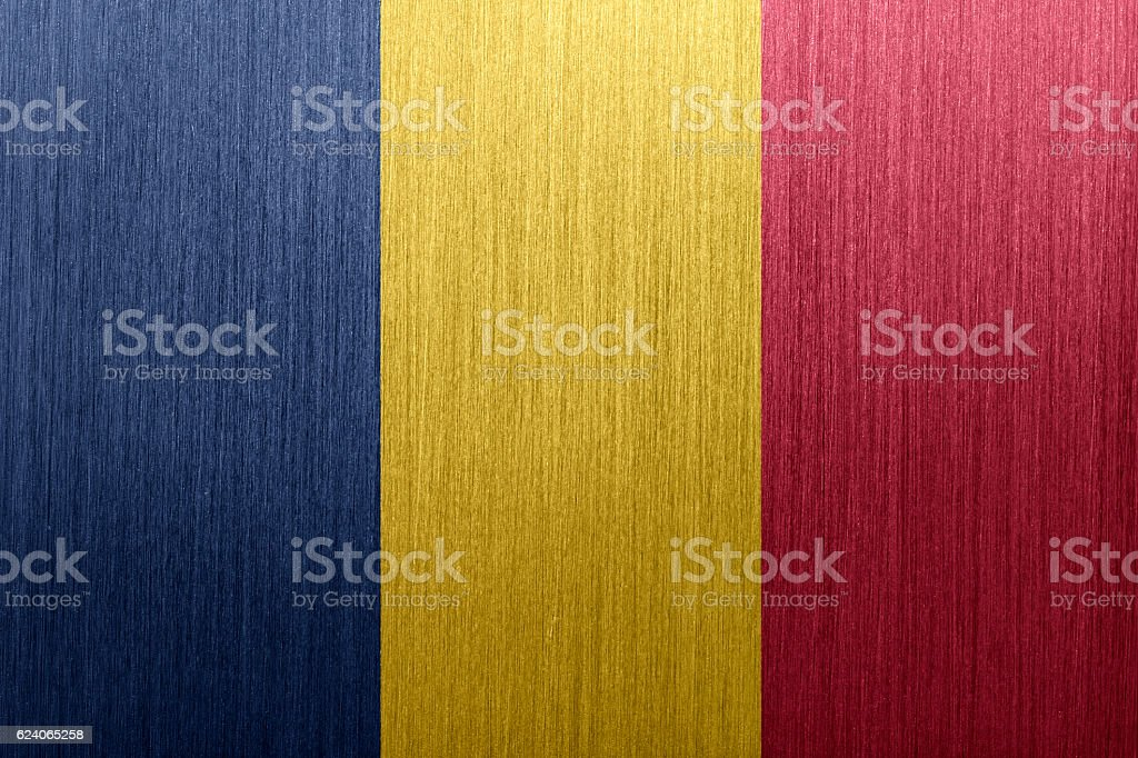 Flag of Chad on a brushed metal background stock photo