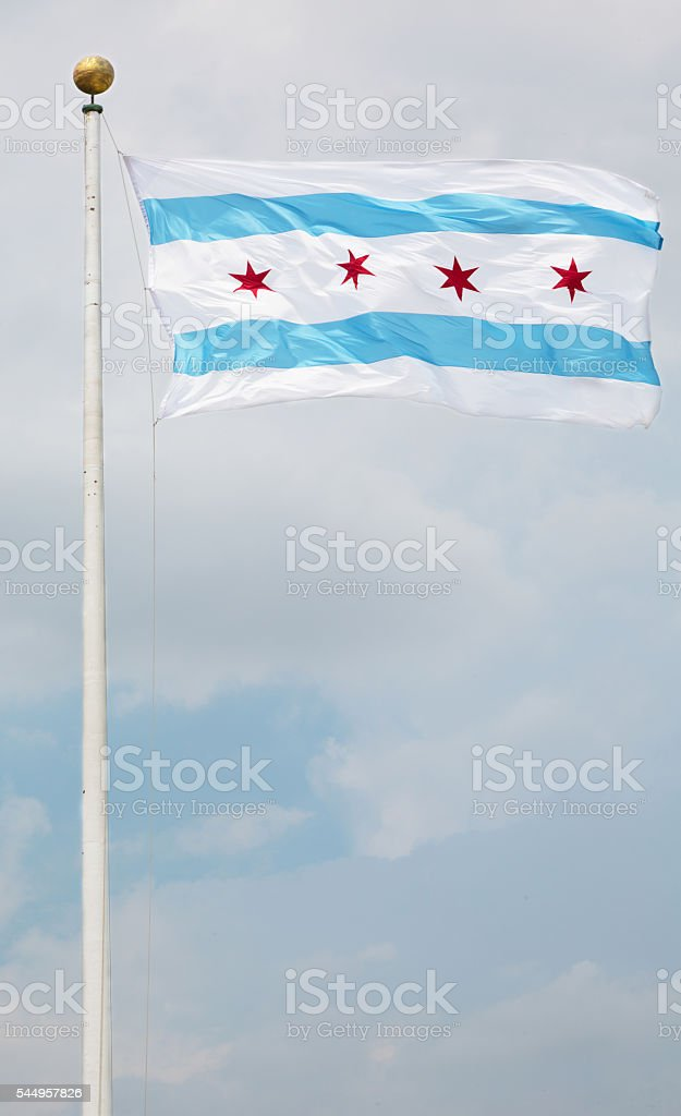 Flag of Chicago and sky stock photo
