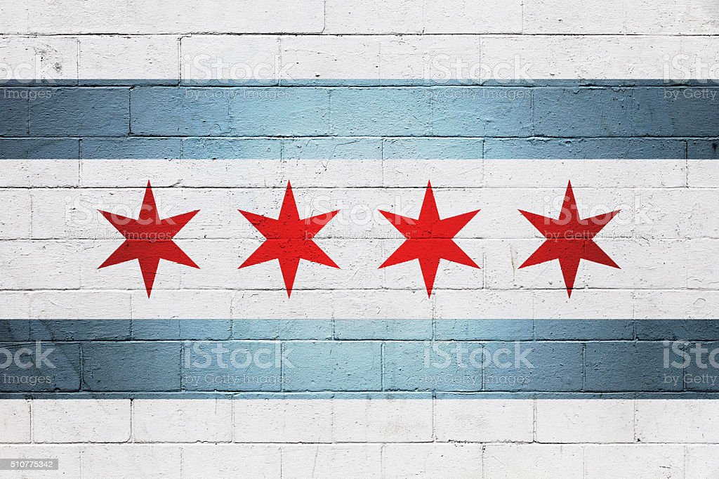 Flag of Chicago painted on a wall stock photo