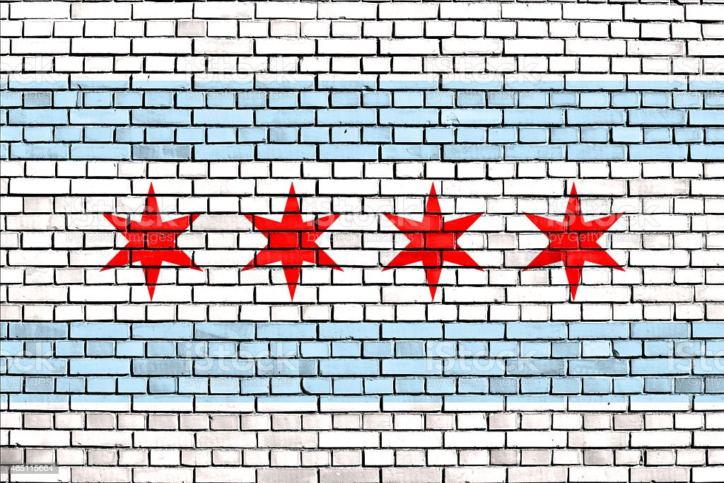 flag of Chicago painted on brick wall stock photo