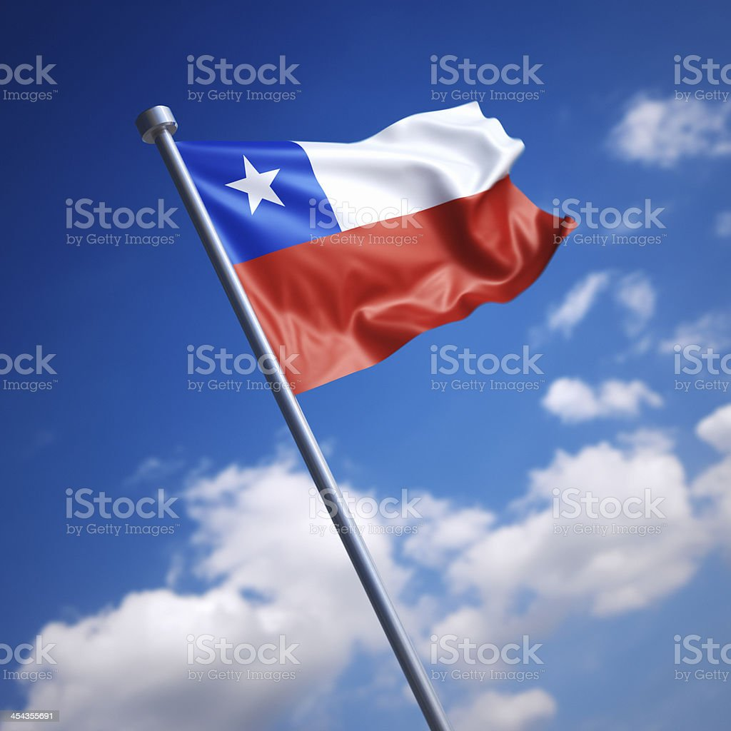 Flag of Chile against blue sky royalty-free stock photo