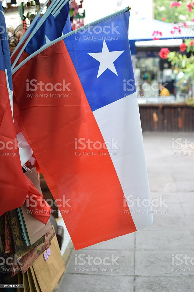 Flag of Chile on sale. stock photo