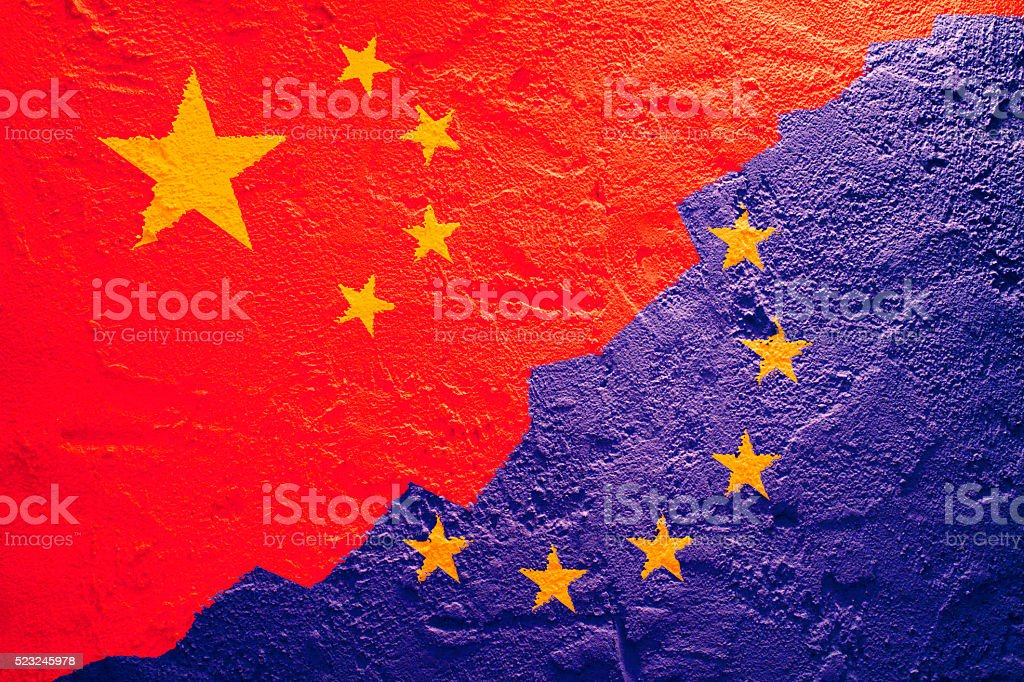 Flag of China and European Union on a textured background stock photo