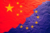 Flag of China and European Union on a textured background