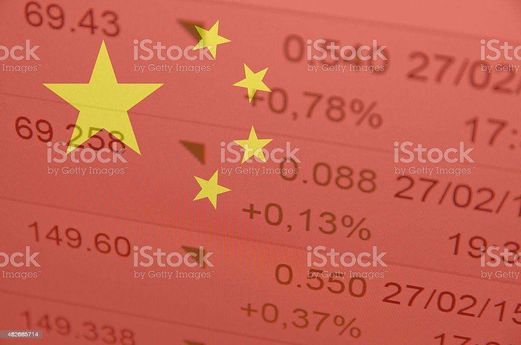 Flag of China. Financial data on background. stock photo