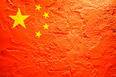 Flag of China on a textured background