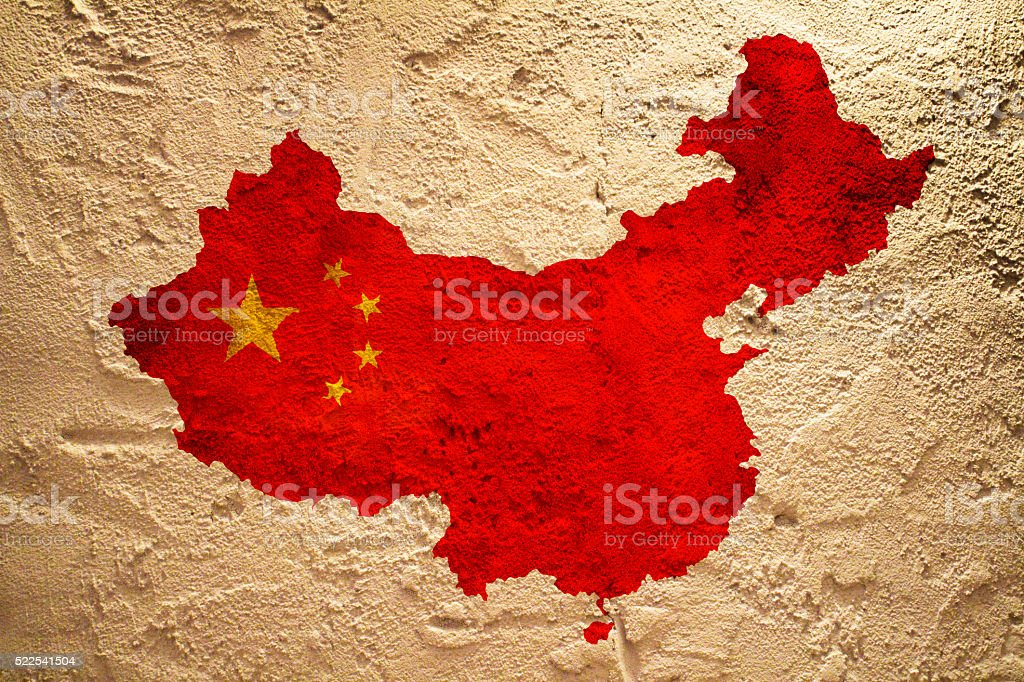 Flag of China on a wall texture stock photo