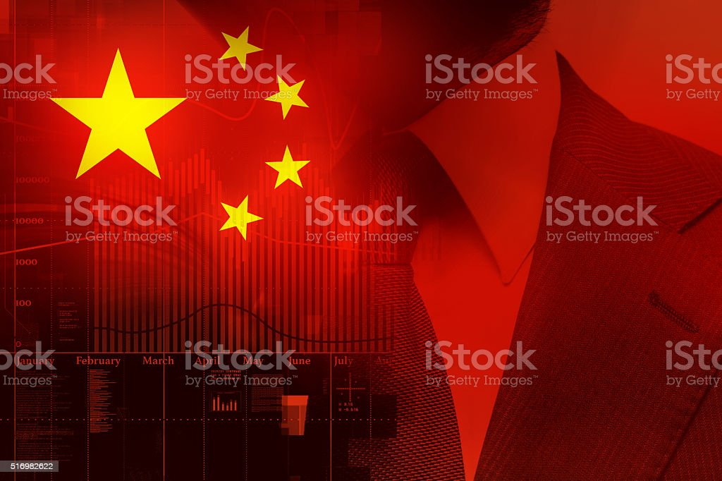 Flag of China. Stock market trend diagram. stock photo