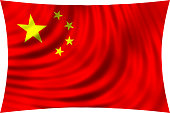 Flag of China waving in wind isolated on white