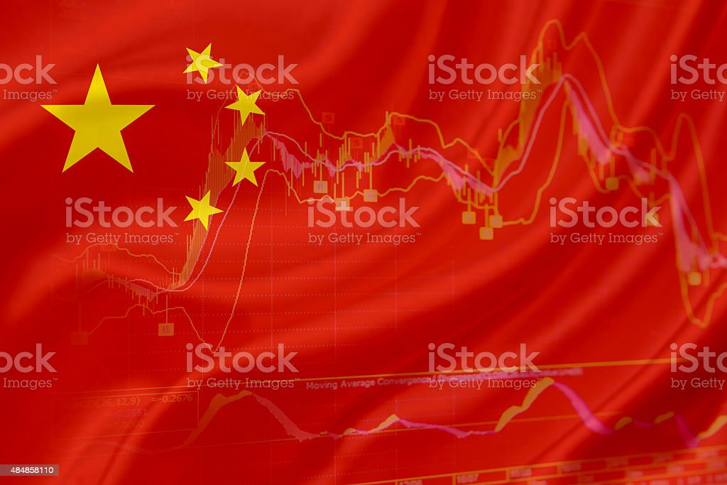 Flag of China with a chart of financial instruments. vector art illustration