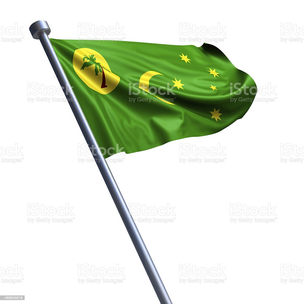 Flag of Cocos (Keeling) Islands isolated on white stock photo