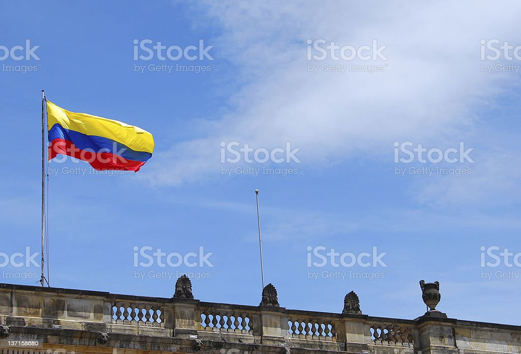 Flag of Colombia atop the Capitolio Nacional in Bogota royalty-free stock photo
