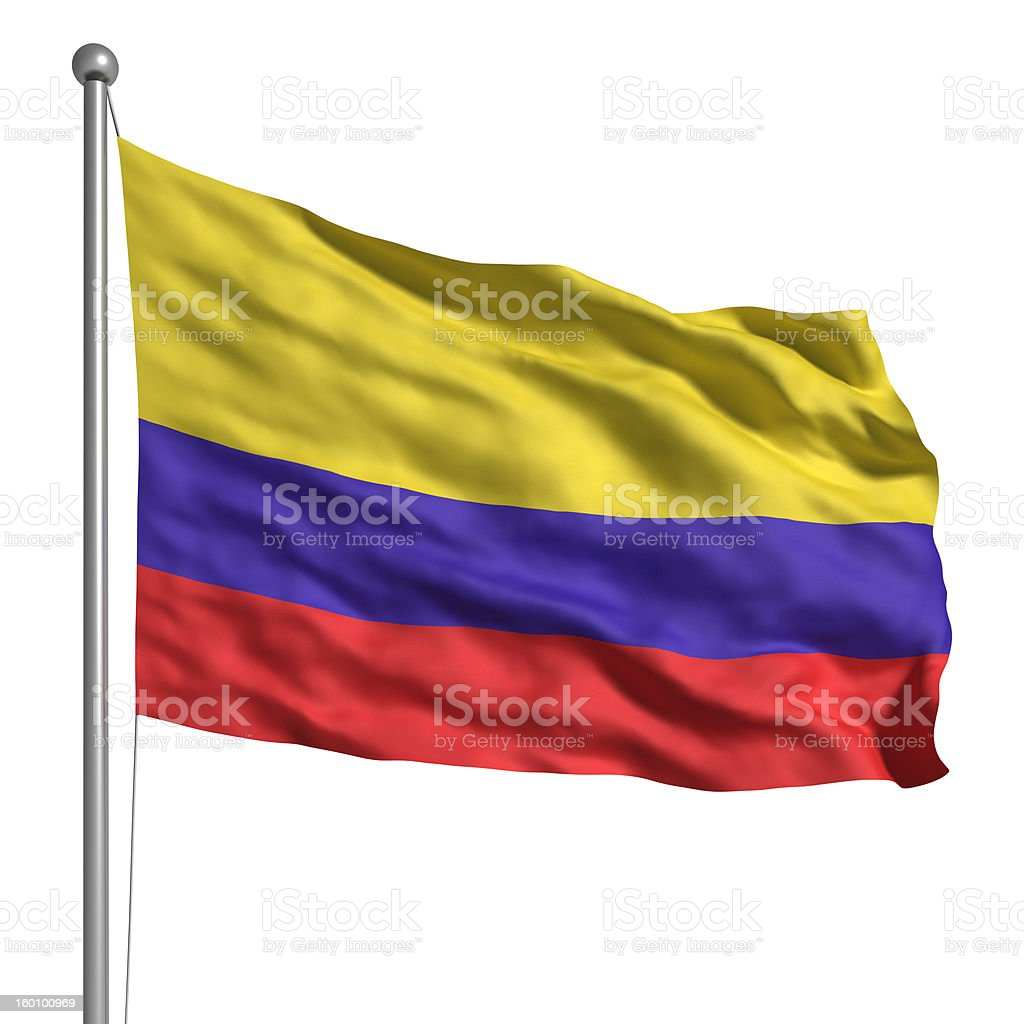 Flag of Colombia (Isolated) stock photo
