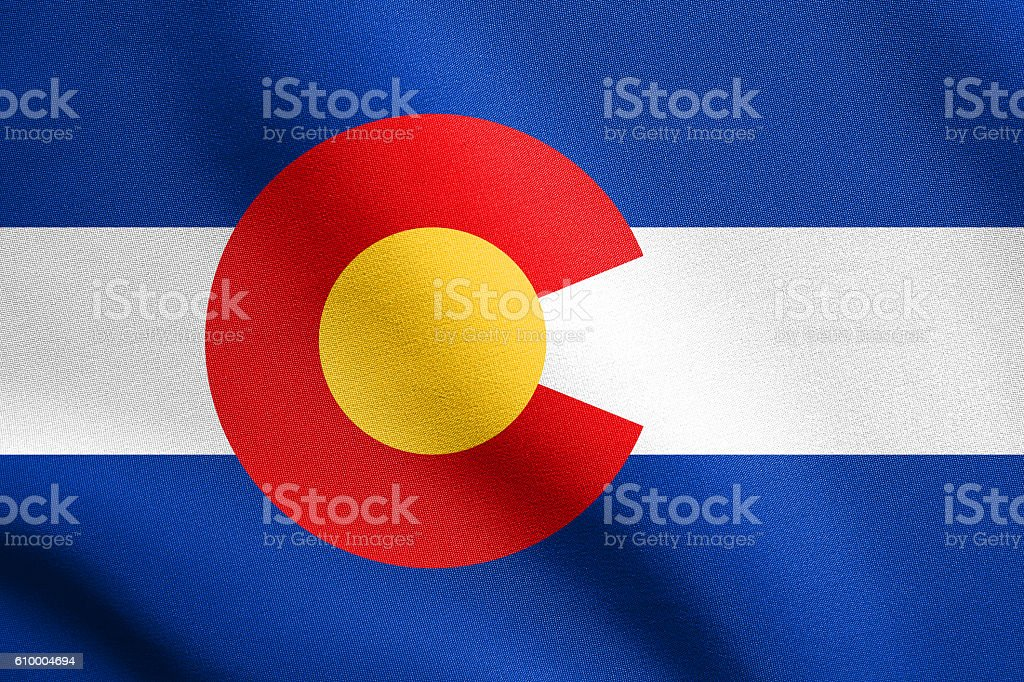 Flag of Colorado waving with fabric texture stock photo