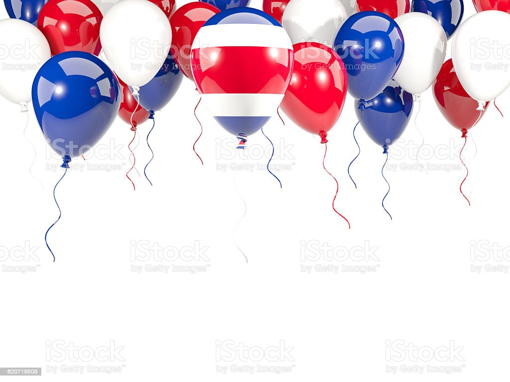 Flag of costa rica on balloons stock photo
