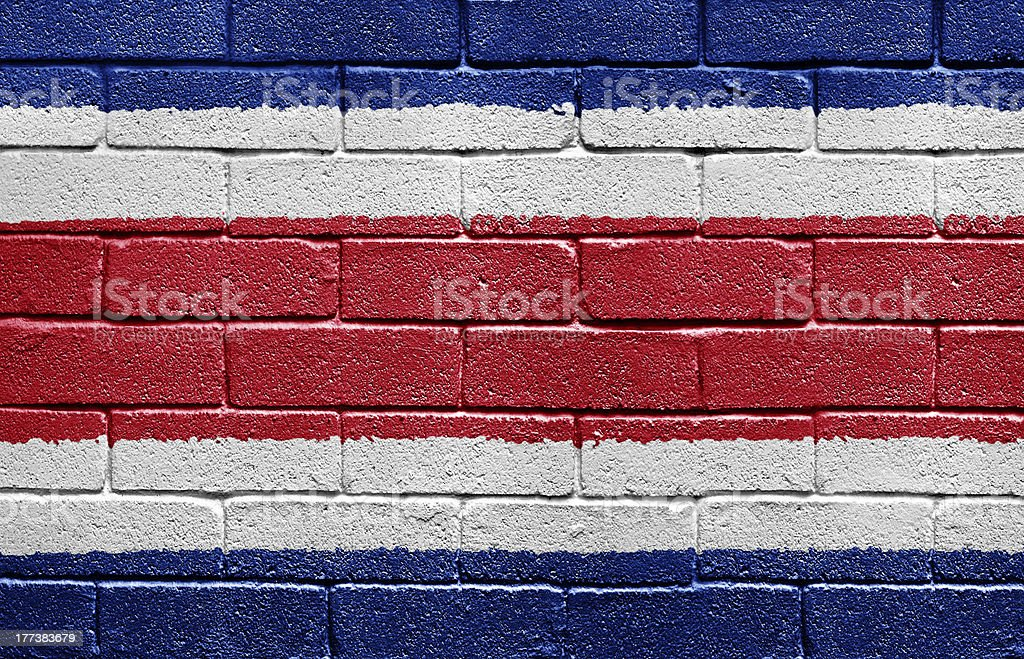 Flag of Costa Rica on brick wall stock photo
