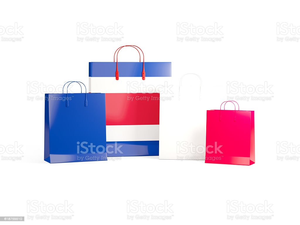 Flag of costa rica on shopping bags stock photo