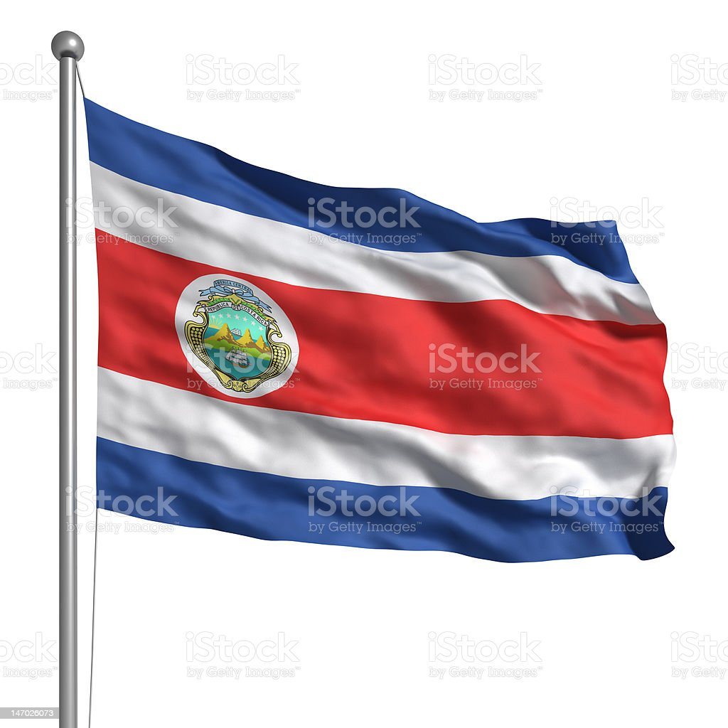 Flag of Costa Rica (Isolated) stock photo