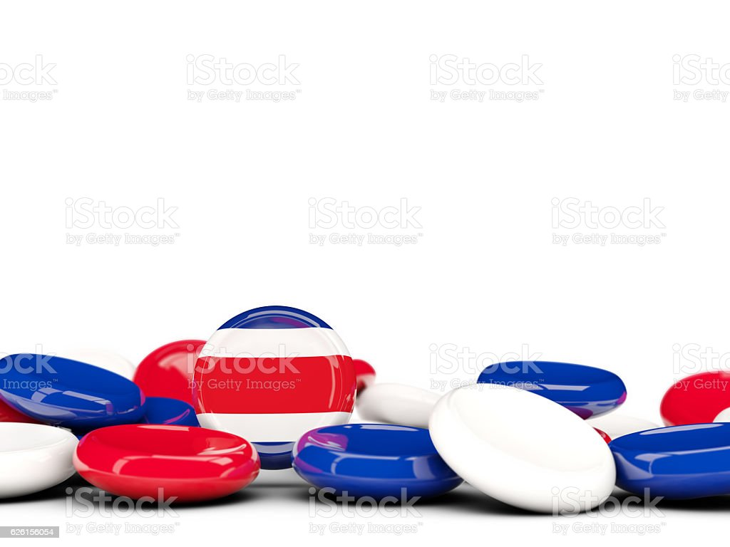 Flag of costa rica, round buttons stock photo