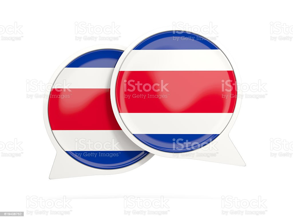 Flag of costa rica, round chat icon stock photo