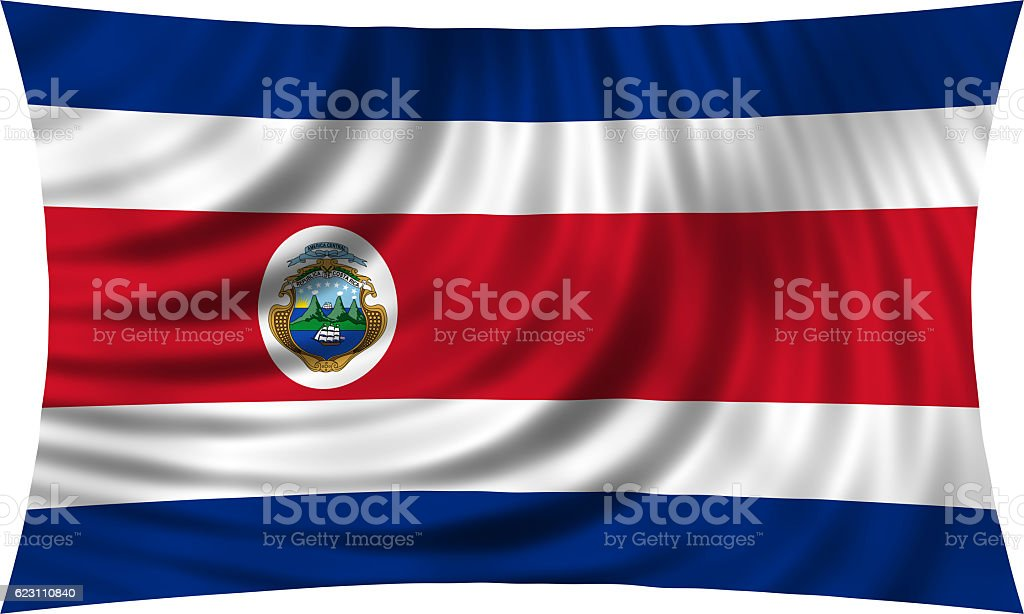 Flag of Costa Rica waving isolated on white stock photo