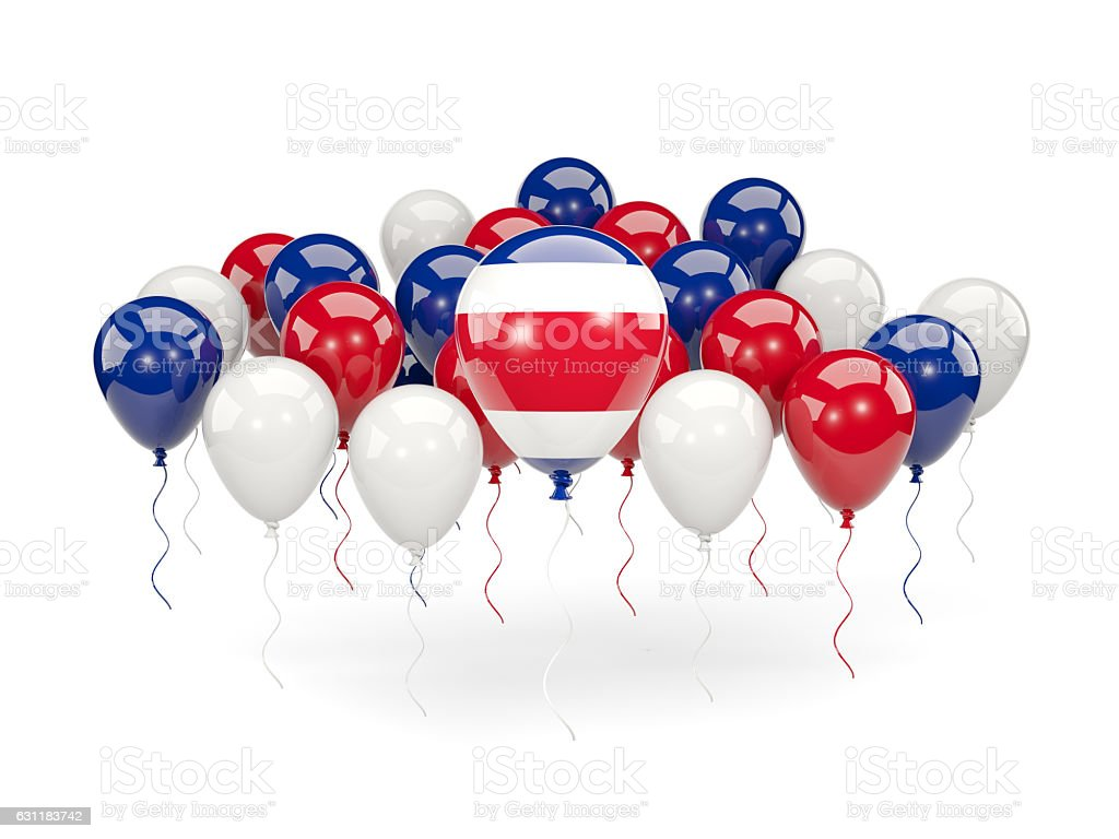 Flag of costa rica with balloons stock photo