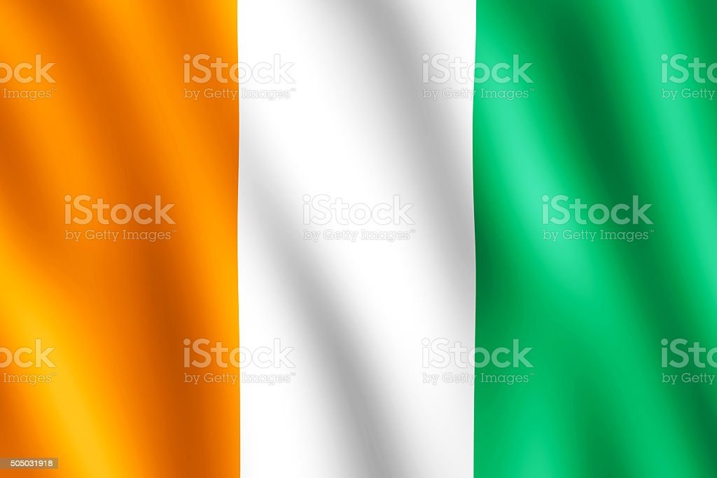 Flag of Cote d'Ivoire waving in the wind stock photo