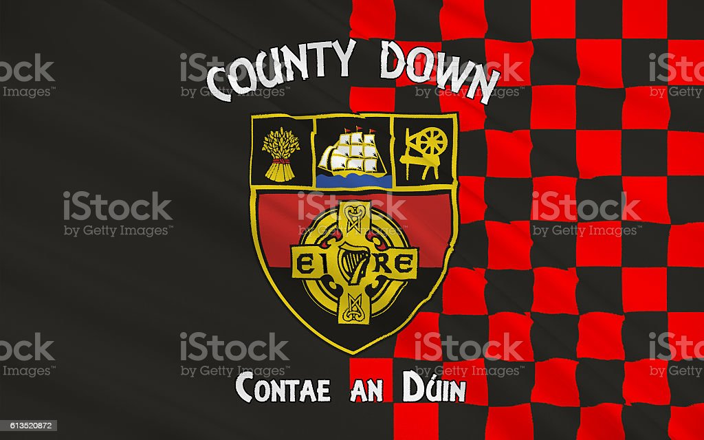 Flag of County Down in Northern Ireland stock photo