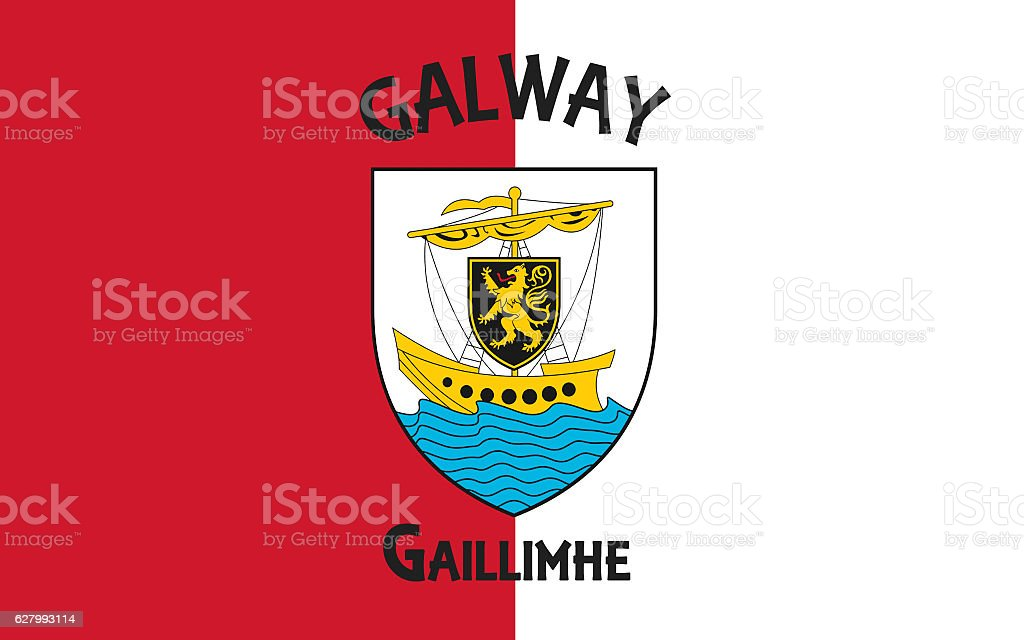 Flag of County Galway is a county in Ireland stock photo