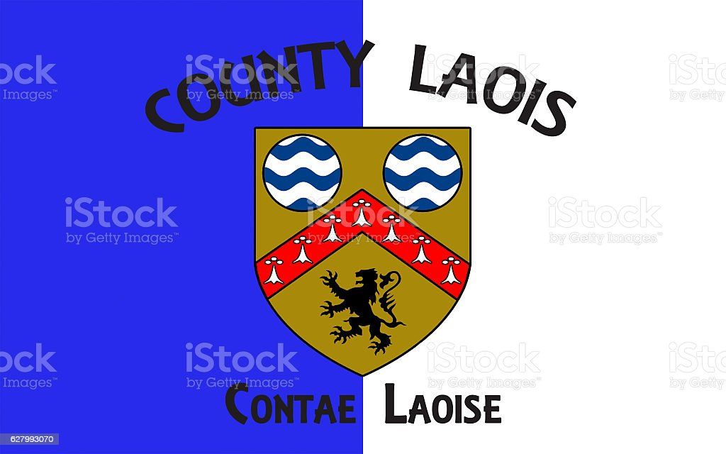 Flag of County Laois is a county in Ireland stock photo
