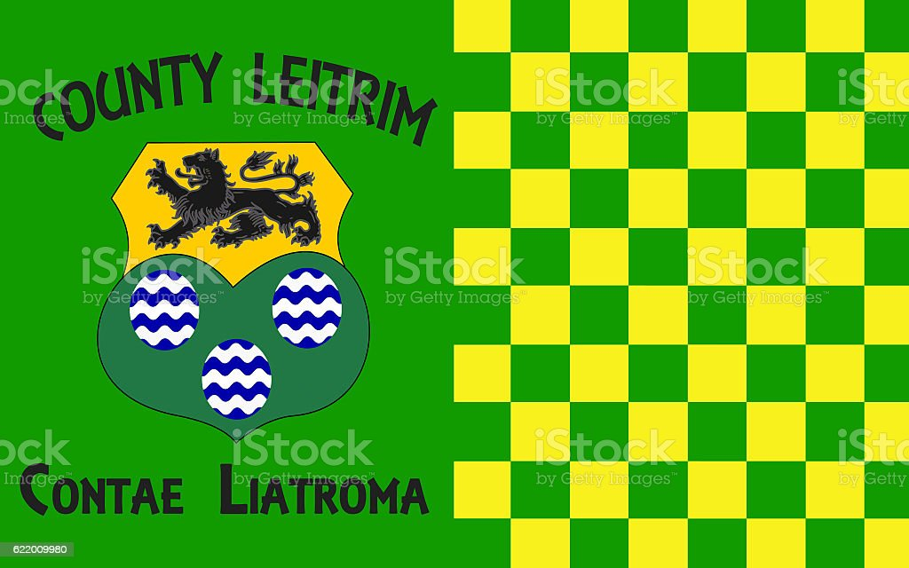 Flag of County Leitrim is a county in Ireland stock photo