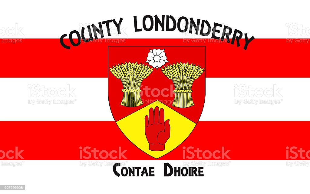 Flag of County Londonderry in Northern Ireland stock photo