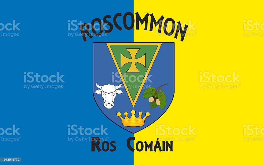 Flag of County Roscommon is a county in Ireland stock photo