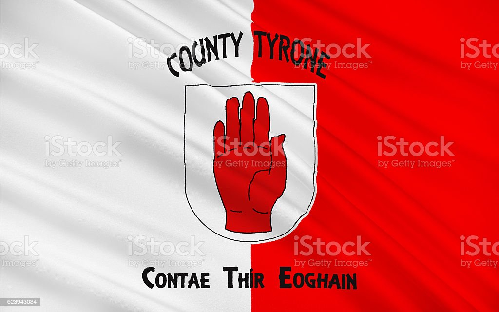 Flag of County Tyrone is a county in Ireland stock photo