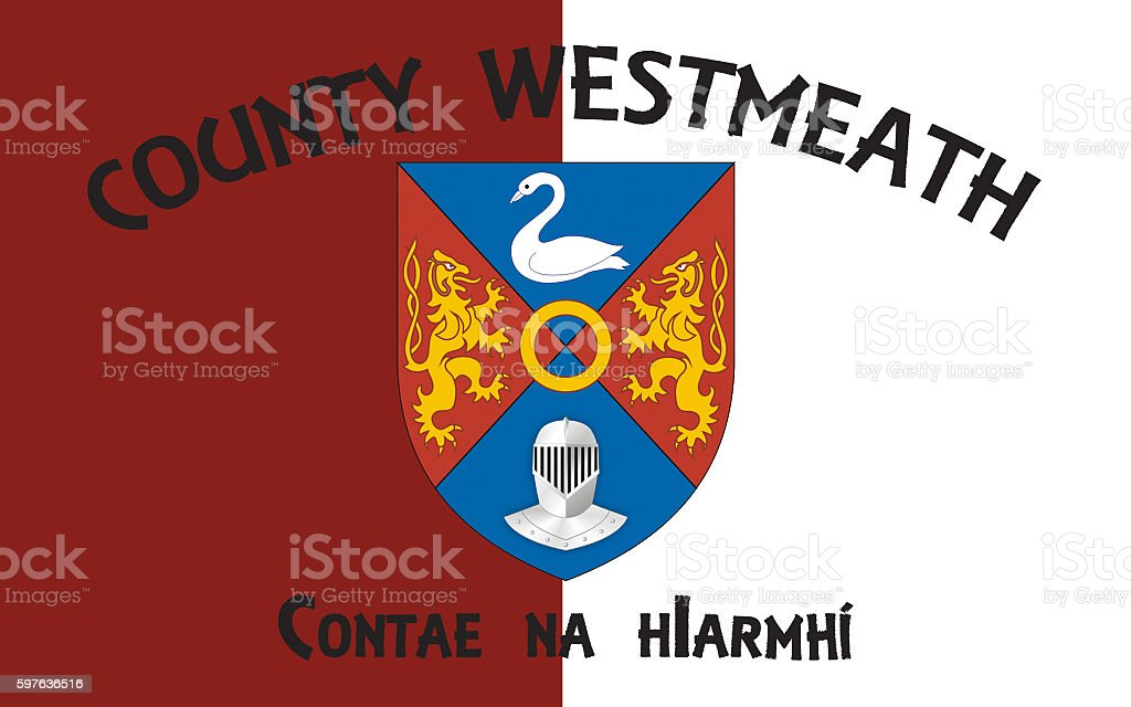 Flag of County Westmeath is a county in Ireland stock photo