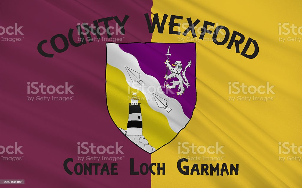 Flag of County Wexford is a county in Ireland stock photo