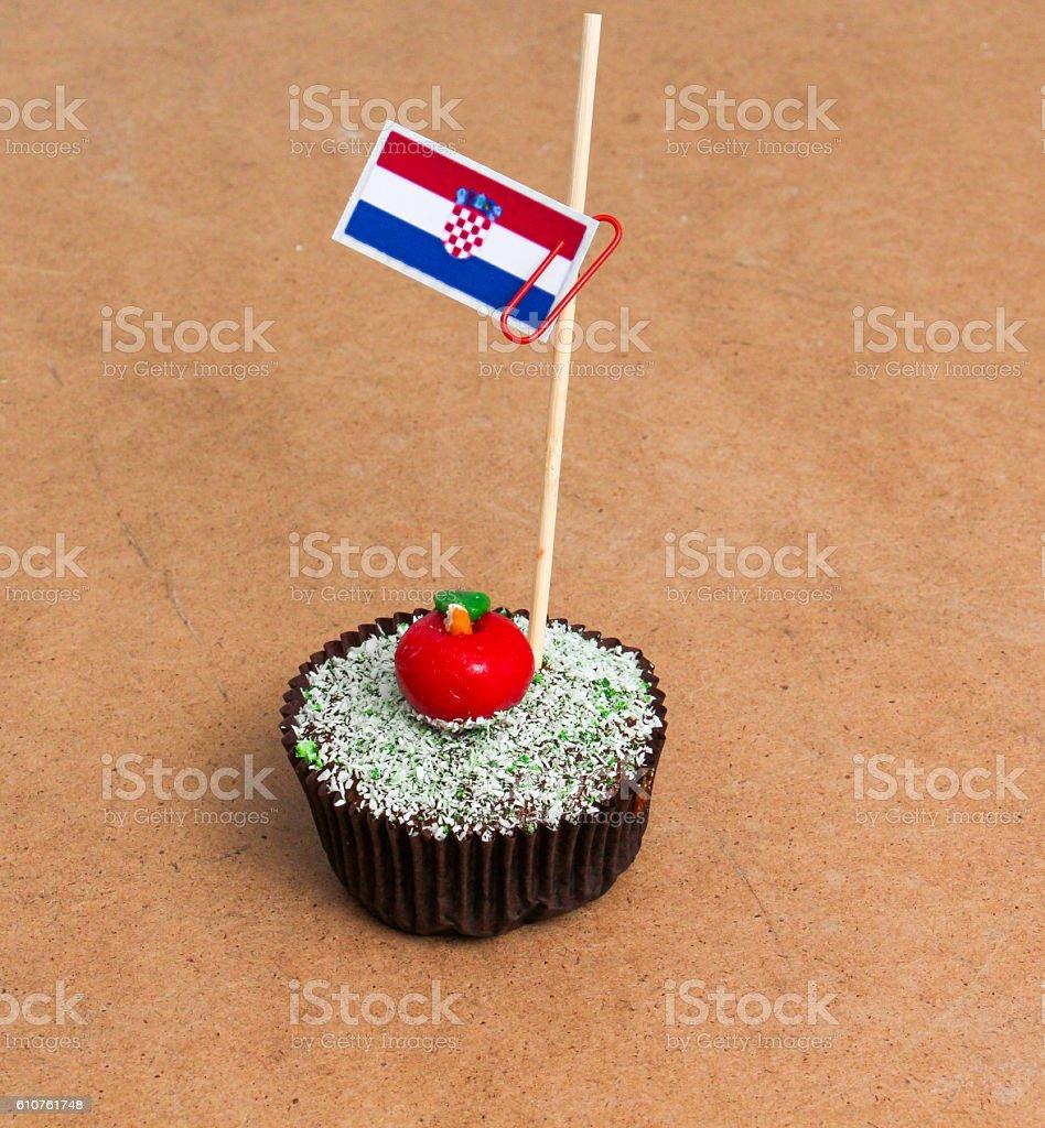 flag of croatia on a cupcake stock photo