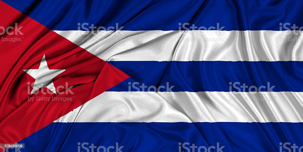 Flag of Cuba 3d, silk textured stock photo